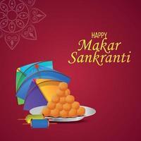 festival indiano makar sankranti com bateria criativa e belas pipas vetor