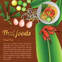 Comida tailandesa deliciosa e famosa em palito de macarrão frito com almofada de camarão thai com fundo de madeira e ingrediente vetor