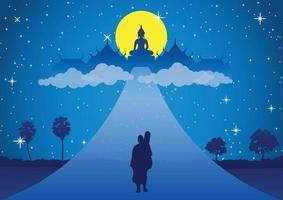 monge caminha na estrada para o céu na noite de lua cheia vetor