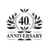 Celebração do 40º aniversário, design luxuoso do logotipo do aniversário de 40 anos. vetor