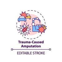 ícone do conceito de amputação causada por trauma vetor