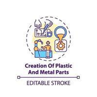 ícone do conceito de criação de peças de plástico e metal vetor