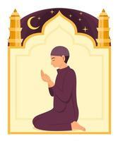 homem muçulmano ora a Deus e a moldura da mesquita é o plano de fundo. vetor