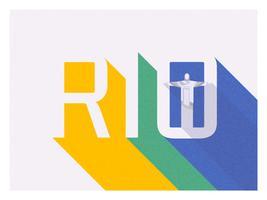 Design de vetor de tipografia retrô Rio Long Shadow