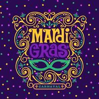 mardi gras carnaval ornamentado decoração design vetor