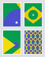 Projetos geométricos do conceito da bandeira de Brasil vetor