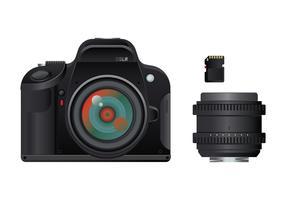 Câmera digital SLR em um fundo branco com lente e cartão de memória vetor