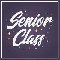 Ilustração de vetor de tipografia plana Senior classe Lettering