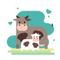 Mãe de vaca adorável e filhote vetor