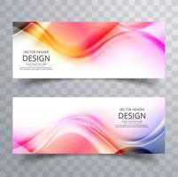 Banners de onda de negócios colorido abstrato design vetor