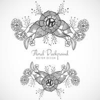 Belo design floral casamento artístico vetor