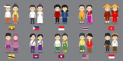 definir personagens asiáticos com vestidos tradicionais vetor