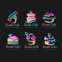 coleção de logotipo de bolo em gradiente vetor