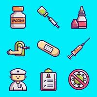 coleções de ícones de vacinação covid-19 vetor