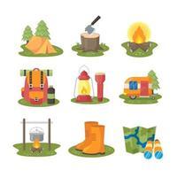 coleção de ícones de acampamento em design plano vetor