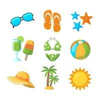 coleção de ícones de praia em design plano vetor