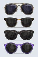 conjunto de óculos de sol modernos e bonitos desenhados à mão com sombras e luzes isoladas no fundo branco vetor