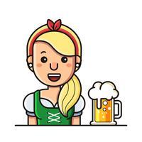 Senhora no dirndl e cerveja vetor