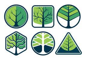Conjunto de elementos de logotipo de árvore vetor