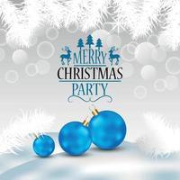 cartão de convite de feliz natal com bolas de neve de vetor e bolas de festa