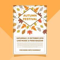 Modelo de vetor de cartaz de outono outono festival plana