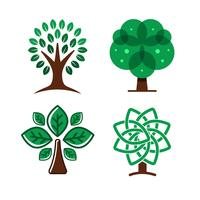 Elementos do logotipo da árvore vetor