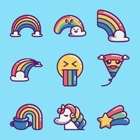 coleção de ícones de arco-íris vetor