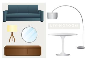 pacote de vetor de elementos interiores de sala de estar