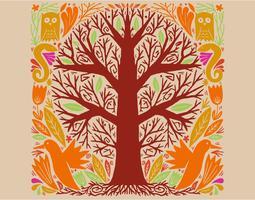 pássaros e animais da árvore vetor