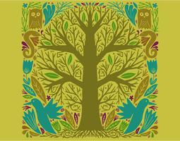 ilustração de árvore de círculo vetor
