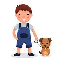 Menino e seu cão vetor