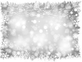 Fundo de luzes de Natal prata vetor