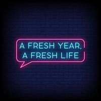 um novo ano, uma nova vida, sinais de néon, estilo, vetor de texto