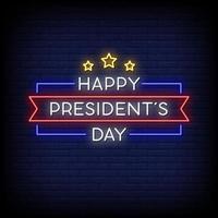 feliz dia do presidente vetor de texto de sinais de néon