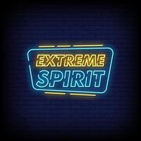vetor de texto de estilo de sinais de néon de espírito extremo