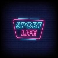 vetor de texto estilo sinais de néon vida esporte