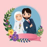desenho animado romântico jovem casal muçulmano apaixonado vetor