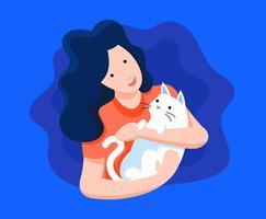 Menina e sua ilustração de gato vetor