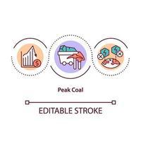 ícone do conceito de pico de carvão vetor