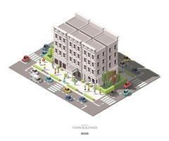 edifícios isométricos da cidade com projeto do ícone do vetor carro e árvore de pessoas conjunto k