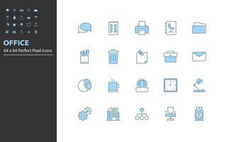conjunto de ícones de linha fina de escritório vetor