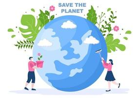 salve nossa ilustração do planeta Terra para um ambiente verde com um conceito ecologicamente correto e proteção contra danos naturais vetor