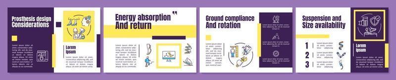 modelo de folheto de considerações de design de prótese vetor