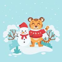 tigre fofo com um suéter com boneco de neve deseja um feliz natal vetor