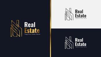 ouro imobiliário logotipo com estilo de linha. construção, arquitetura ou modelo de design de logotipo de construção vetor