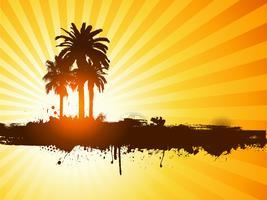 Fundo de árvore de palma verão grunge vetor