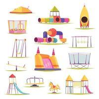 ilustração vetorial conjunto de elementos do parque infantil vetor