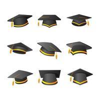 coleção de ícones de chapéus de formatura em gradiente vetor