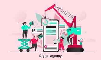 design de conceito de web de agência digital em ilustração vetorial de estilo simples vetor