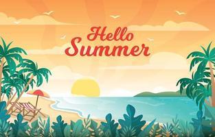 verão praia pôr do sol fundo vetor